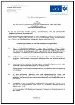 bvfs Güteüberwachungszeichen Verwendungsrichtlinien